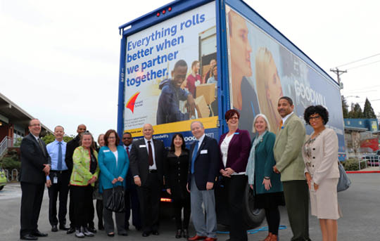 Goodwill and Banner staff unveiling new Goodwill truck