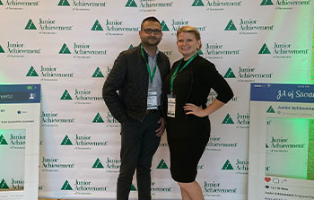 Banner employees posing at Junior Achievement event