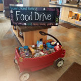 A wagon full of non-perishable food collected during Banner Bank's fall food drive.