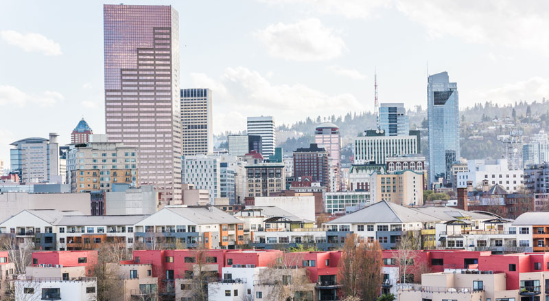 Skyline photo of buildings in downtown Portland, Oregon