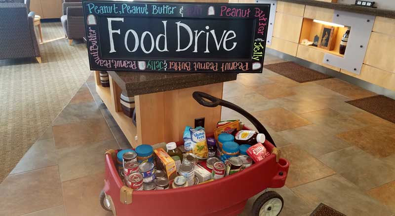 Wagon filled with non-perishable food collected during Banner Bank's annual food drive