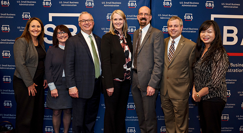 Banner Bank employees posing for a picture at the SBA Awards Gala in Seattle