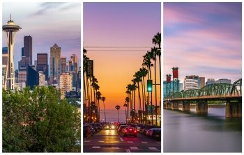 Collage of Seattle, Portland and San Diego skyline
