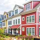 Colorful row homes financed with Banner Bank's Multifamily lending for 5 or more units