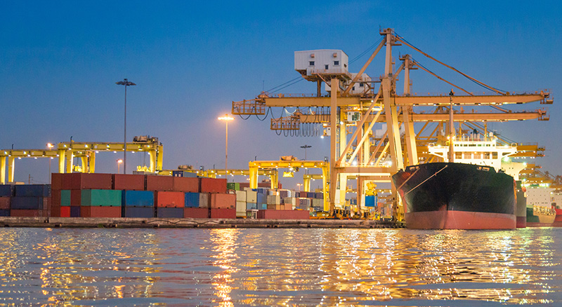 Docked cargo and freight for international trade