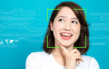 Facial recognition software on woman