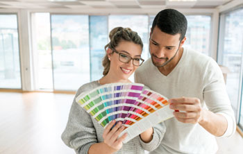 Couple picking paint colors