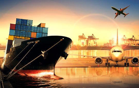 Collage of shipping container, airplane and shipyard help business import and export goods. Banner Bank's International Services team can help businesses with import and export financial services.