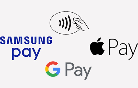 Apple, Google and Samsung Pay symbols indicate you can pay with your enrolled mobile device