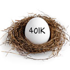 Nest with an egg that has 401k written on the outside