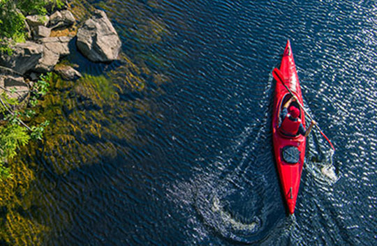 Aerial shot of a person kayaking