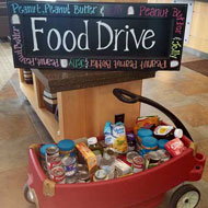 Collecting non-perishable food in wagon