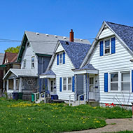 Row of homes in America