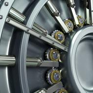 Close-up of bank safe
