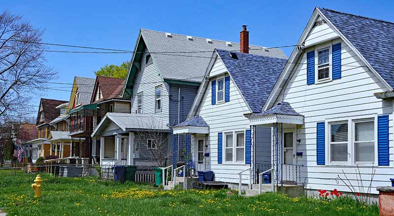 Row of houses in America